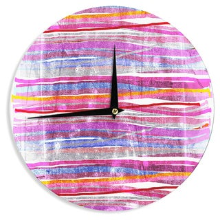 KESS InHouse Frederic Levy-Hadida 'Fancy Stripes Pink' Wall Clock