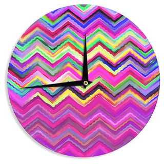 KESS InHouse Dawid Roc 'Colorful Chevron' Purple Pink Wall Clock