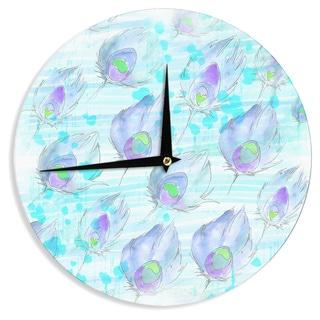 KESS InHouse Danii Pollehn 'Featherdream' Purple Illustration Wall Clock