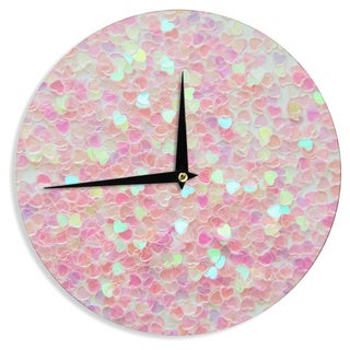 KESS InHouse Debbra Obertanec 'Hearts Galore' Pink Love Wall Clock