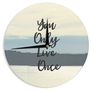 KESS InHouse Debbra Obertanec 'YOLO' Typograghy Pastel Wall Clock