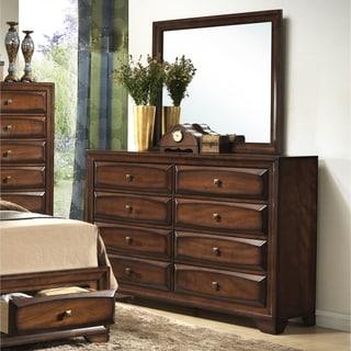 Oakland 139 Antique Oak Finish Wood 8-drawer Dresser and Mirror
