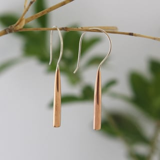 Handmade Cylindrical Copper Earrings by Spirit Tribal Fusion (Bali)