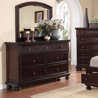 Brishland Rustic Cherry 7-drawer Bedroom Dresser and Mirror