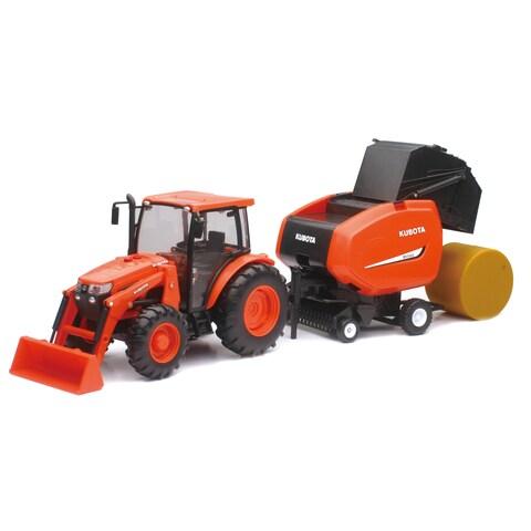 Kubota Tractor and Hay Baler Toy