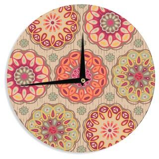 KESS InHouse Suzie Tremel 'Festival Folklore' Vintage Floral Wall Clock