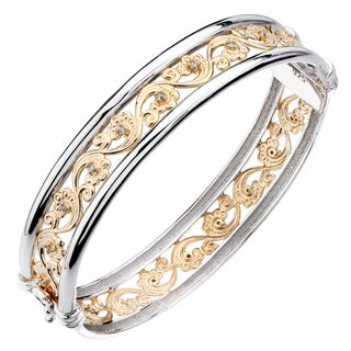 1/5 CT Yellow Gold Plated Silver Wave Filigree Diamond Bangle