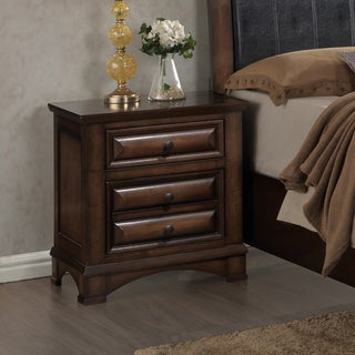 Roundhill Furniture Broval 179 Light Espresso Finish Wood 2-drawers Night Stand