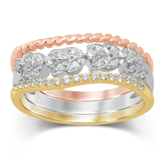 Unending Love 10k Tri-color Gold 1/5-carat TDW iJ i2-i3 Stackable Fashion Ring