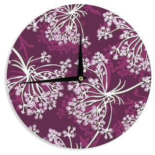 KESS InHouse Suzie Tremel 'Squiggly Floral' Pink White Wall Clock
