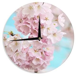KESS InHouse Sylvia Cook 'A Pastel Spring' Pink Floral Wall Clock