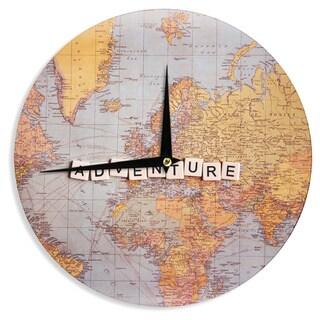 KESS InHouse Sylvia Cook 'Adventure Map' World Wall Clock