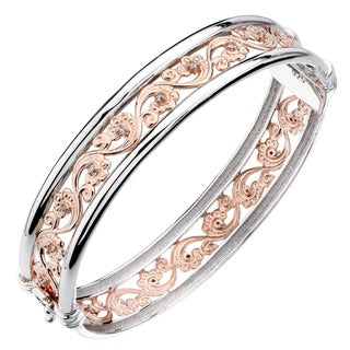 Rose Gold over Silver 1/5ct TDW Diamond Wave Filigree Bangle (J-K, I2-I3)