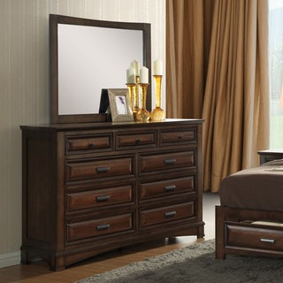 Broval Light Espresso Wood 6-Drawer Dresser and Mirror