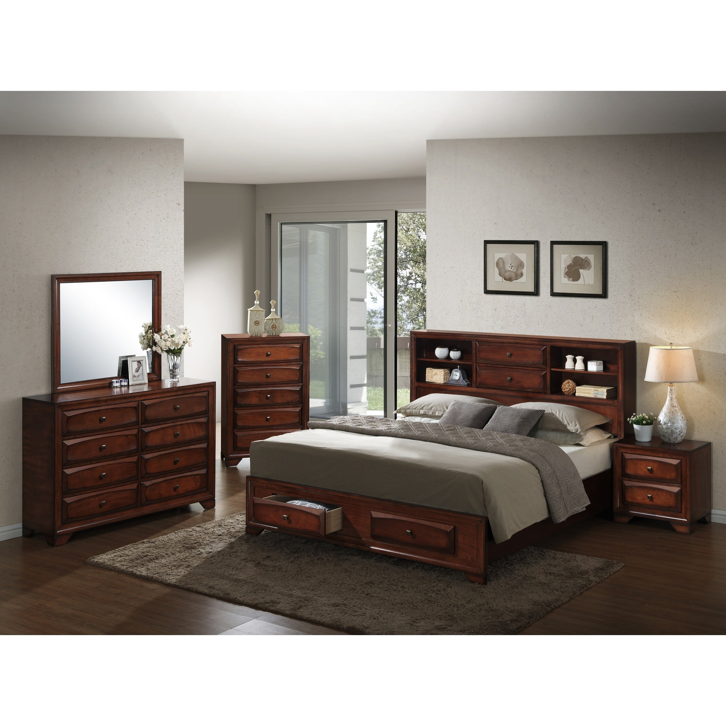 Shop Asger Antique Oak Finish Wood Queen Size 5 Piece Bedroom Set