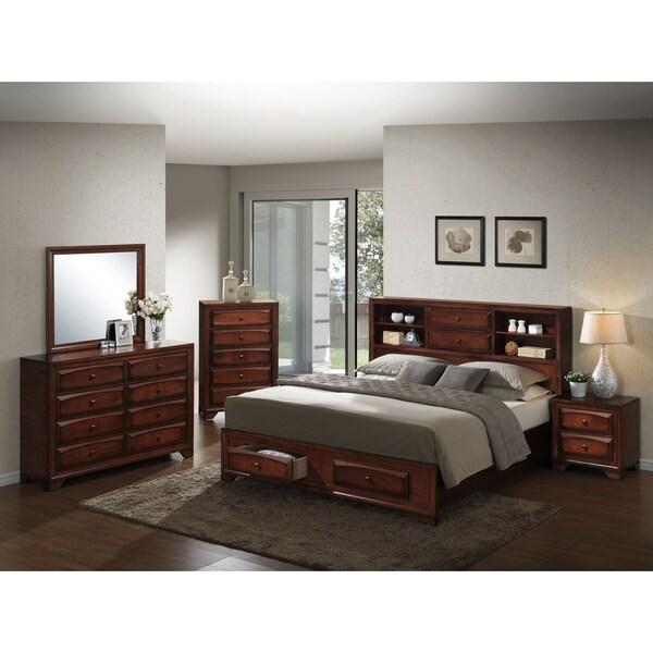Asger Antique Oak Finish Wood Queen-size 5-piece Bedroom Set