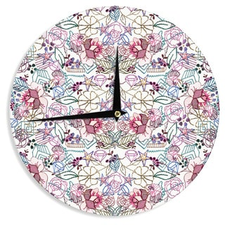 KESS InHouse DLKG Design 'Cool Stitch White' Blush Wall Clock