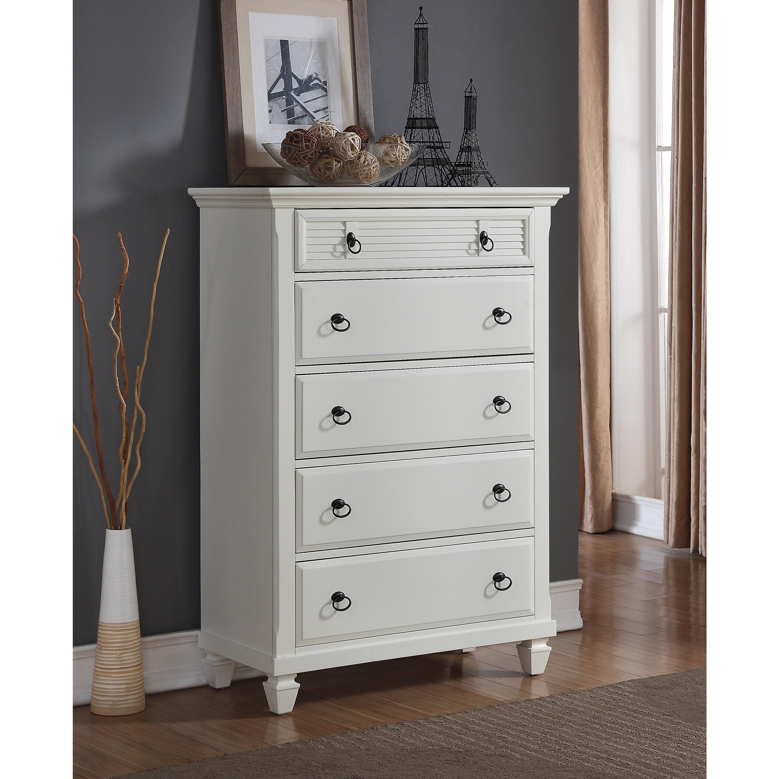 Shop Regitina 016 White Bedroom 5 Drawer Chest Overstock 12594371