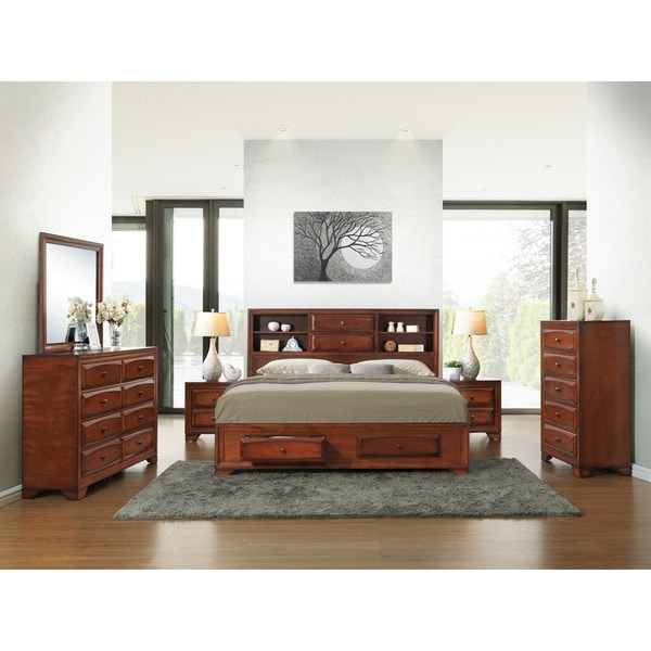 asger antique oak finish wood king size 6 piece bedroom set free