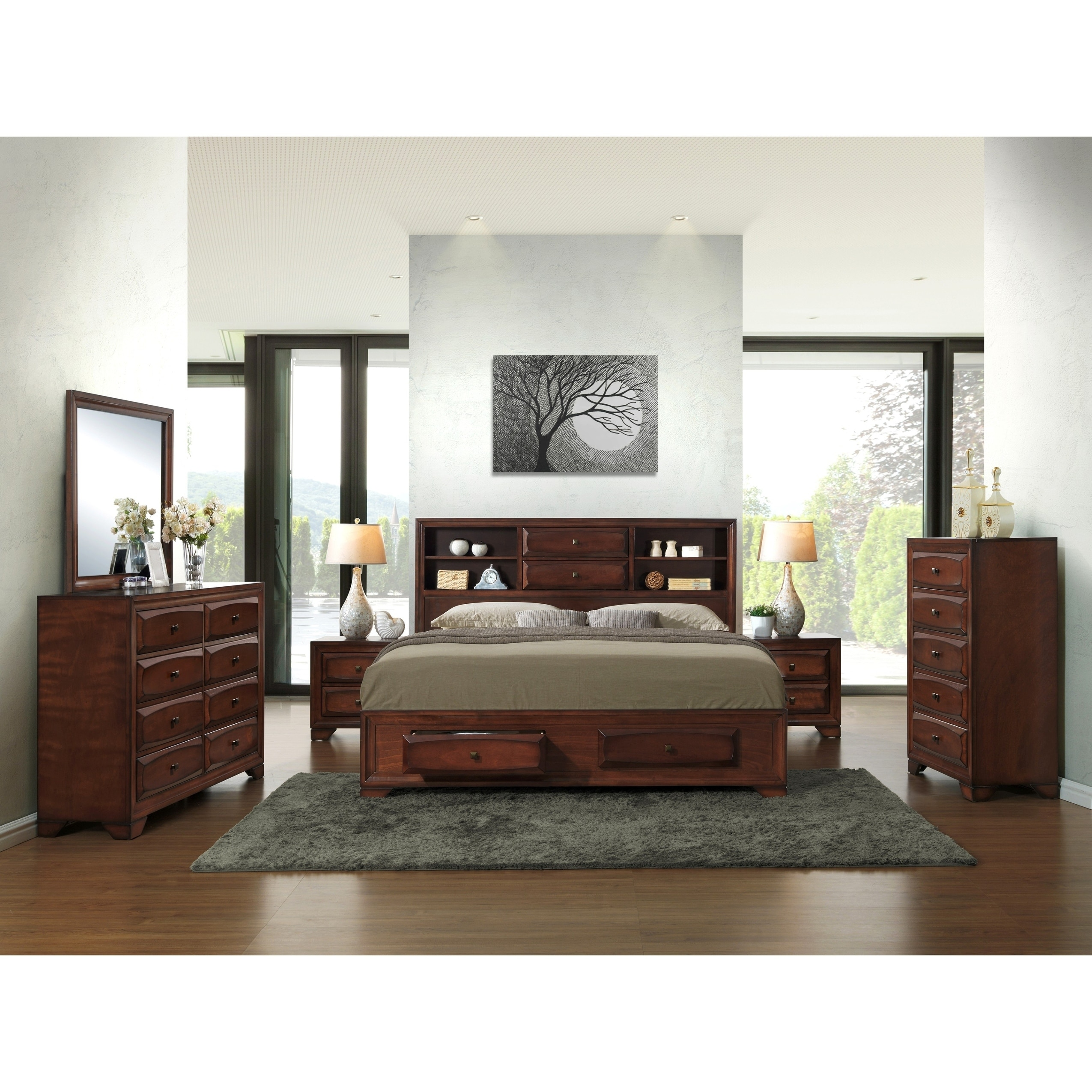 Shop Asger Antique Oak Finish Wood King Size 6 Piece Bedroom Set