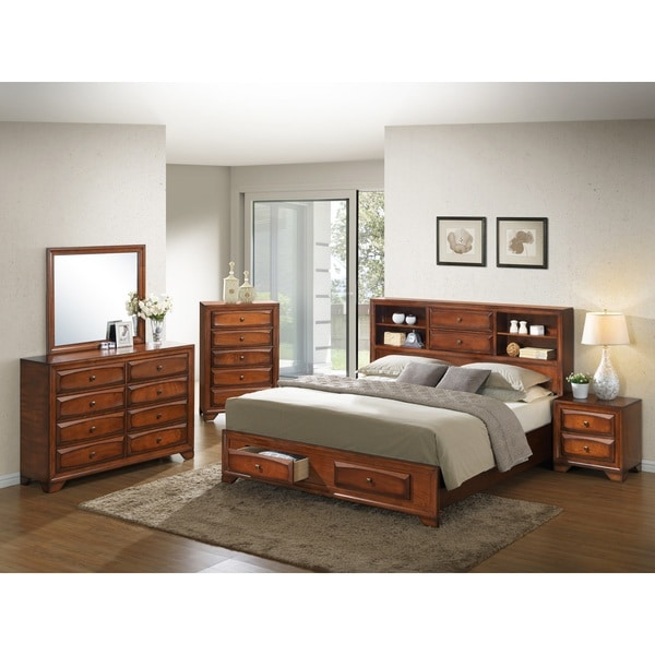 Shop Asger Antique Oak Finish Wood King Size 5 Piece Bedroom Set Free Shipping Today