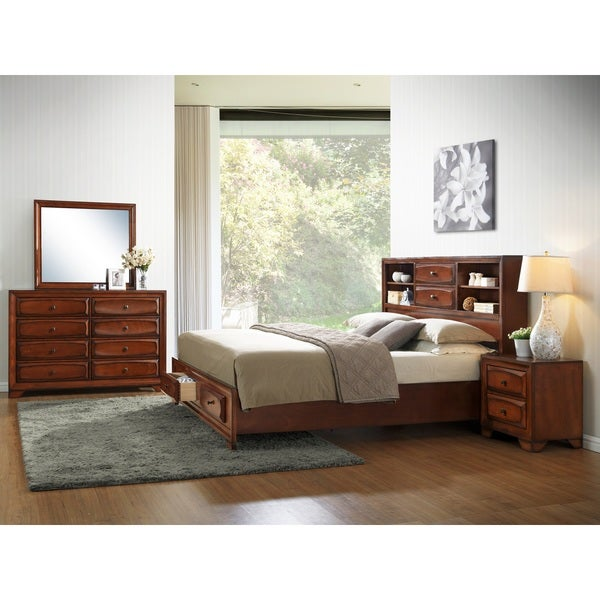 Asger Antique Oak Finish Wood Queen Size 5 Piece Bedroom Set
