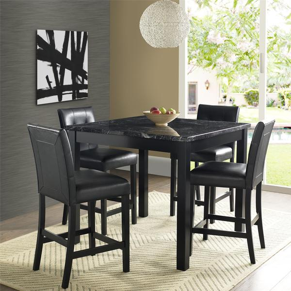 dorel living andover faux marble counter height dining set free shipping today. Black Bedroom Furniture Sets. Home Design Ideas