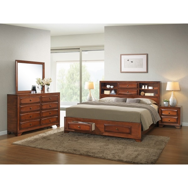 asger antique oak finish wood 5 piece bedroom set free shipping