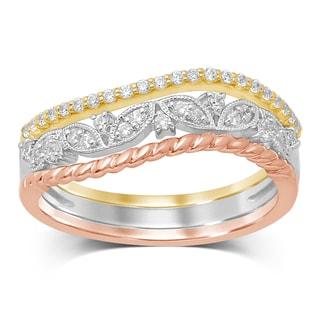 Unending Love 10K Gold and Diamond Stackable Milgrain Tri-color Fashion Ring