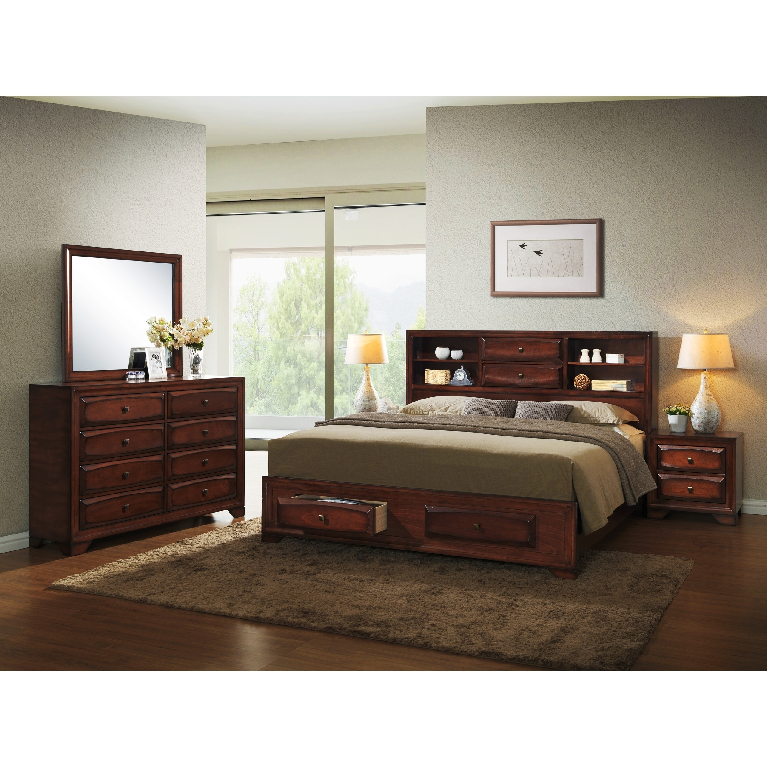 Asger Antique Oak Finish Wood King Size 5 Piece Bedroom Set Oak King 612524932646 Ebay