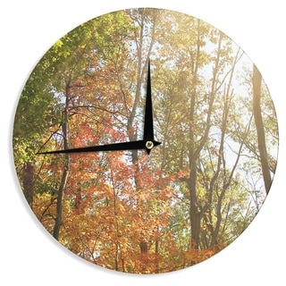 KESS InHouse Sylvia Coomes 'Autumn Trees 1' Green Orange Wall Clock