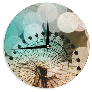 KESS InHouse Sylvia Coomes 'Ferris Wheel Silhouette' Beige Teal Wall Clock