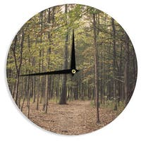KESS InHouse Sylvia Coomes 'Forest Trees' Green Brown Wall Clock