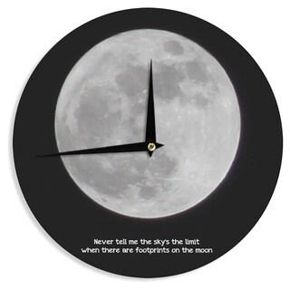 KESS InHouse Sylvia Coomes 'The Moon' Black White Wall Clock