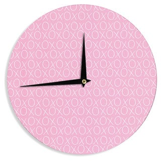 KESS InHouse Heidi Jennings 'Hugs & Kisses' Pink Pattern Wall Clock