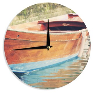 KESS InHouse Sylvia Coomes 'Venetian Boat' Blue Brown Wall Clock