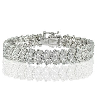 DB Designs Silvertone 1ct TDW Diamond Miracle-Set Chevron Tennis Bracelet (2 options available)