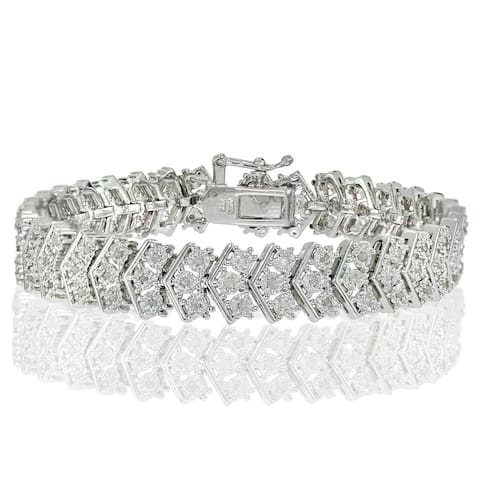 DB Designs Silvertone 1ct TDW Diamond Miracle-Set Chevron Tennis Bracelet