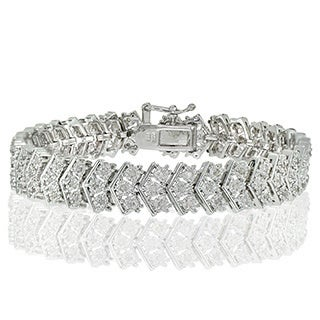 DB Designs Silvertone 1ct TDW Diamond Miracle-Set Chevron Tennis Bracelet