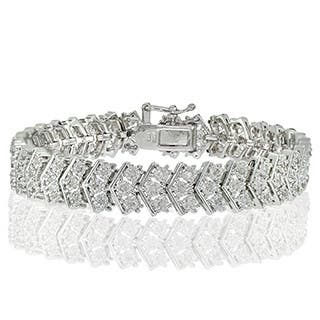 Db Designs Silvertone 1ct Tdw Diamond Miracle Set Chevron Tennis Bracelet