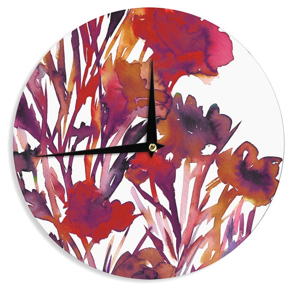 KESS InHouse Ebi Emporium 'Pocket Full Of Posies Red' Maroon Purple Wall Clock