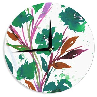 KESS InHouse Ebi Emporium 'Pocket Full Of Posies Teal' Green Pink Wall Clock