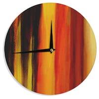 KESS InHouse Theresa Giolzetti 'Firework' Yellow Orange Wall Clock