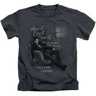 Vampire Diaries/Be Yourself Short Sleeve Juvenile Graphic T-Shirt in Charcoal