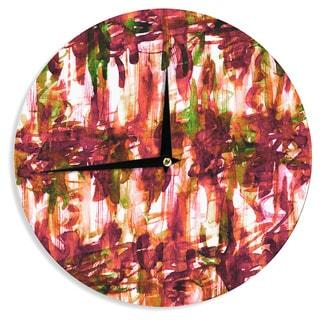 KESS InHouse Ebi Emporium 'White Noise 2' Maroon Green Wall Clock
