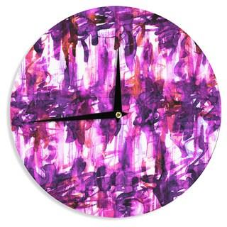KESS InHouse Ebi Emporium 'White Noise 3' Purple Magenta Wall Clock
