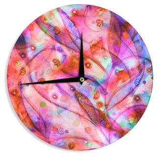 KESS InHouse Ebi Emporium 'Flourish - Pink' Purple Magenta Wall Clock