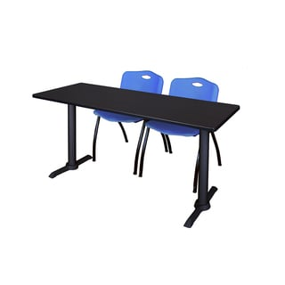 Regency Seating Cain 60-inch x 24-inch Training Table & 2 Blue 'M' Stack Chairs