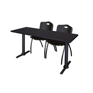 Regency Seating Cain Black Melamine Laminate 60-inch x 24-inch Training Table and 2 M Stacking Chairs