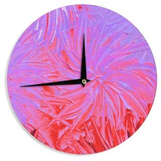 KESS InHouse Ebi Emporium 'Water Flowers Crimson Lilac' Pink Red Wall Clock